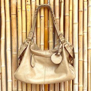 Handbags - Light Tan Golden Sheen Pebble Shoulder Bag